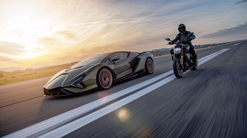 Ducati Diavel 1260 Lamborghini, Lamborghini Sián FKP 37, Race track, 2021, 5K, Wallpaper