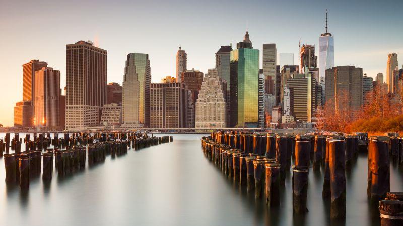 New York City, Skyline, Skyscrapers, Cityscape, Sunset, Evening, Wallpaper