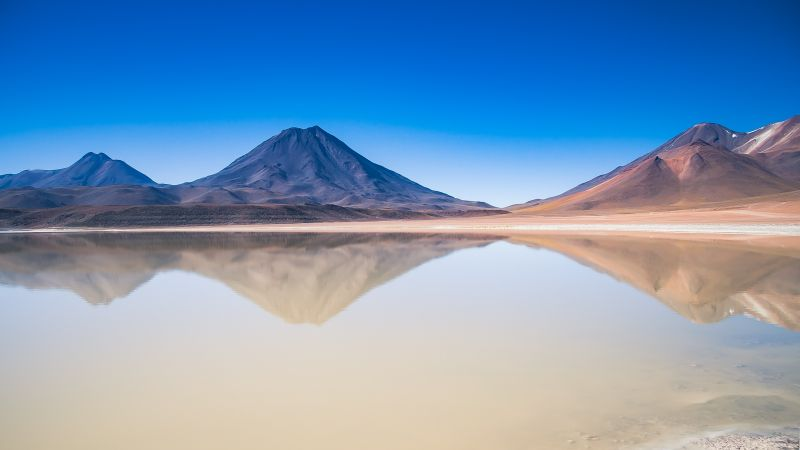 Lascar Volcano, San Pedro de Atacama, Chile, Body of Water, Lake, Reflection, Blue Sky, Plateau, Landscape, Mountain range, Wallpaper