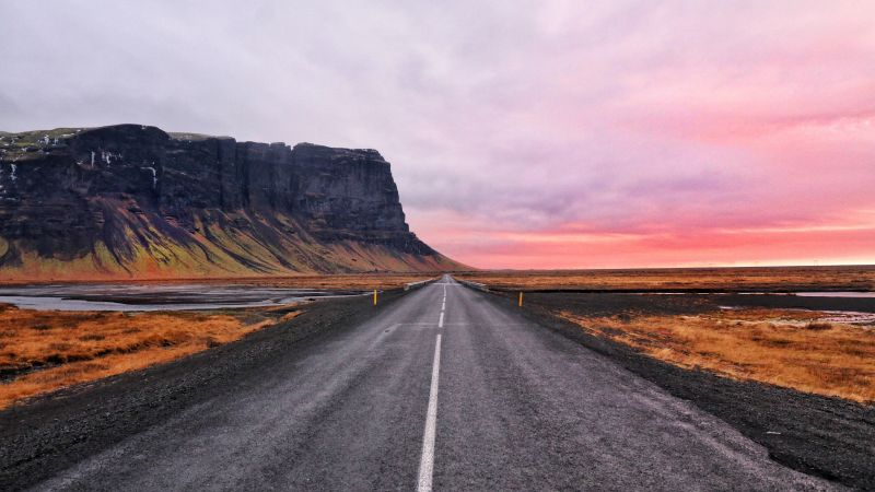 Open Road, Cliff, Horizon, Landscape, Plateau, Iceland, Calm, Hill, Pink Sky, 5K, Wallpaper