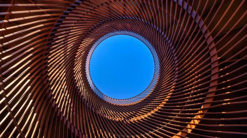 Metal design, Circular, Pattern, Blue Sky, Looking up at Sky, Spiral, Indoor, Symmetrical, Wallpaper
