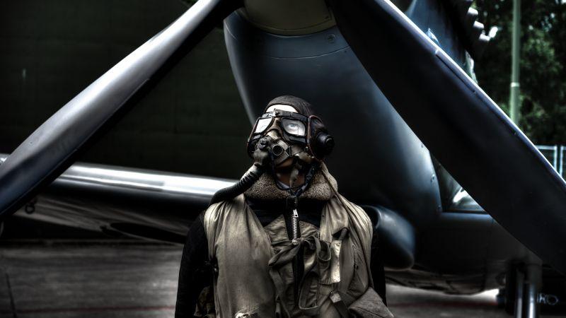 Pilot, Fighter aircraft, Flight, Mask, Aviation, Vintage, Propeller plane, 5K, Wallpaper