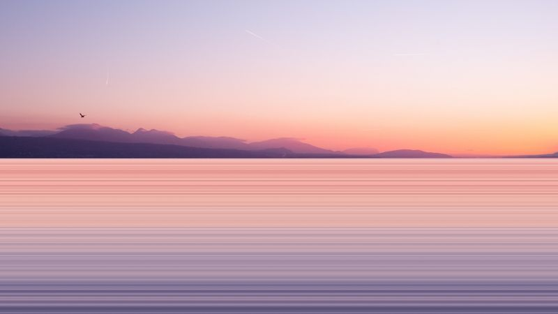 Silhouette, Mountains, Sunset, Body of Water, Long exposure, Pattern, Clear sky, Wallpaper