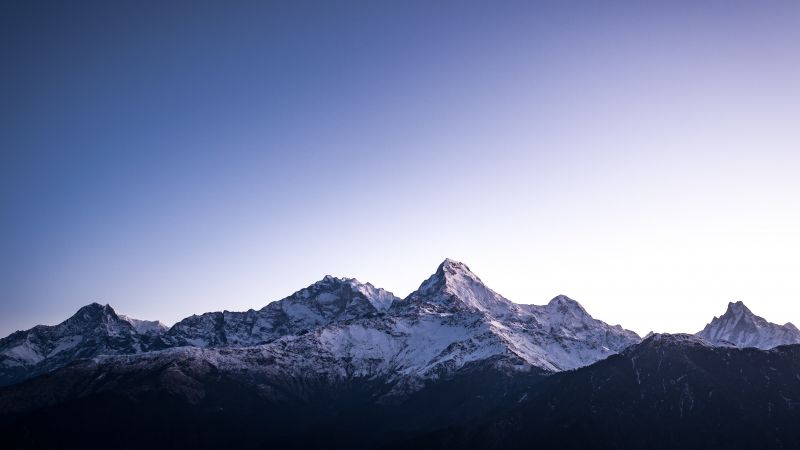 Poon Hill, Nepal, Himalayas, Hill Station, Snow covered, Mountain range, Glacier, Peaks, Mountain View, 5K, Wallpaper