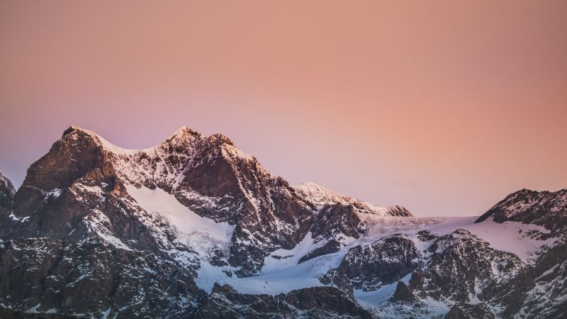 Alps, Glacier mountains, Italy, Pink Hour, Snow covered, Peak, Scenery, Landscape, Sunrise, 5K, Wallpaper