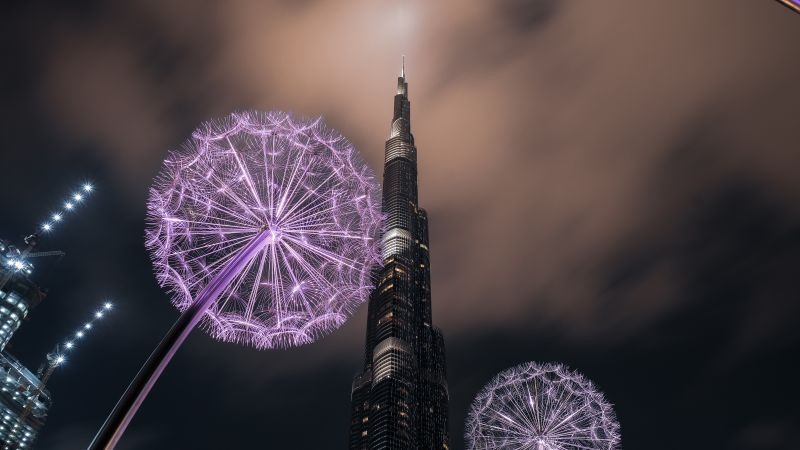 Burj Khalifa, United Arab Emirates, Dubai, Skyscraper, Modern architecture, High rise building, Dandelion flowers, Low Angle Photography, Sky view, Night time, Clouds, 5K, Wallpaper