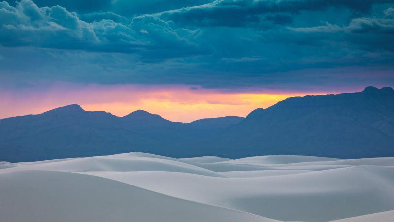 White Sands, Mountain range, Cloudy Sky, Sunset Orange, Silhouette, Landscape, USA, Desert, Soil, 5K, Wallpaper
