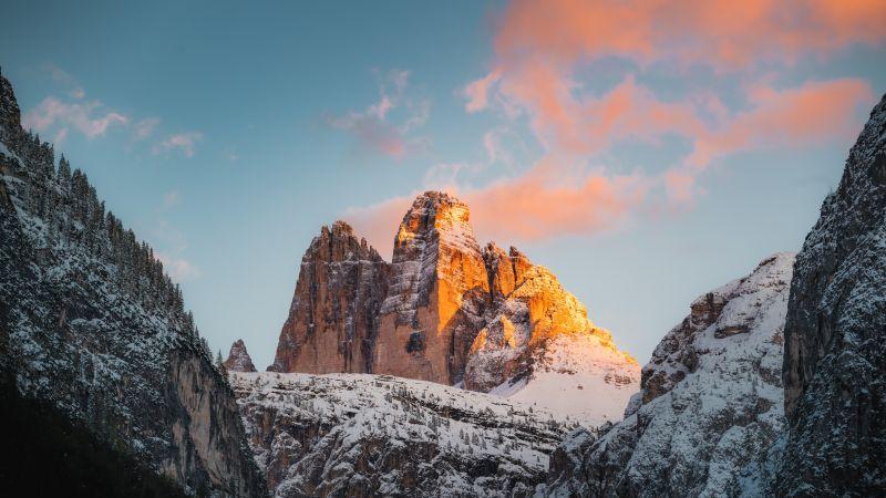 Tre Cime di Lavaredo, Italy, Mountain range, Rock formations, Snow covered, Glacier, Landscape, Mountain View, Peaks, Alps, Golden hour, Sunset, Scenery, 5K, 8K, Wallpaper