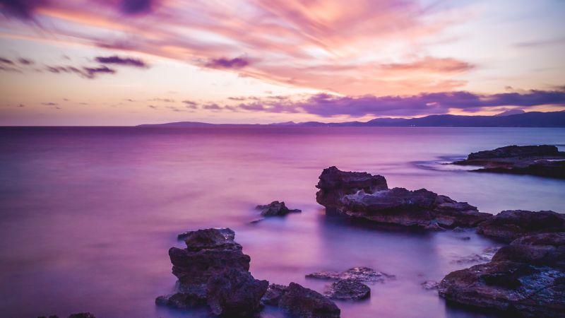Seascape, Sunset, Horizon, Purple, Ocean, Rock formations, Scenic, Beauty in Nature, Landscape, Long exposure, Clouds, 5K, Wallpaper