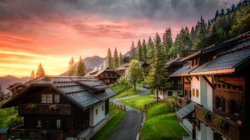 Wooden House, Sunrise, Landscape, Sonnleitn village, Southern Carinthia, Austria, Morning sun, Green Trees, Greenery, Cloudy, Scenery, 5K, 8K, Wallpaper