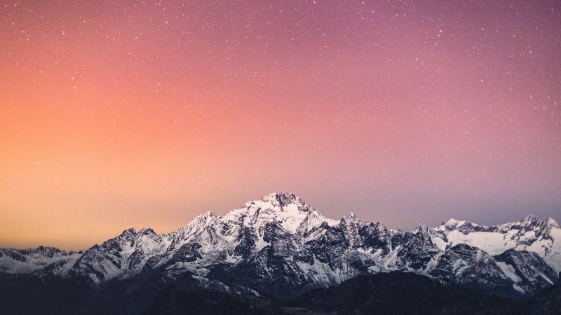 Alps mountains, Mountain range, Italy, Pink sky, Starry sky, Snow covered, Glacier, Peak, Scenery, Landscape, 5K, Wallpaper