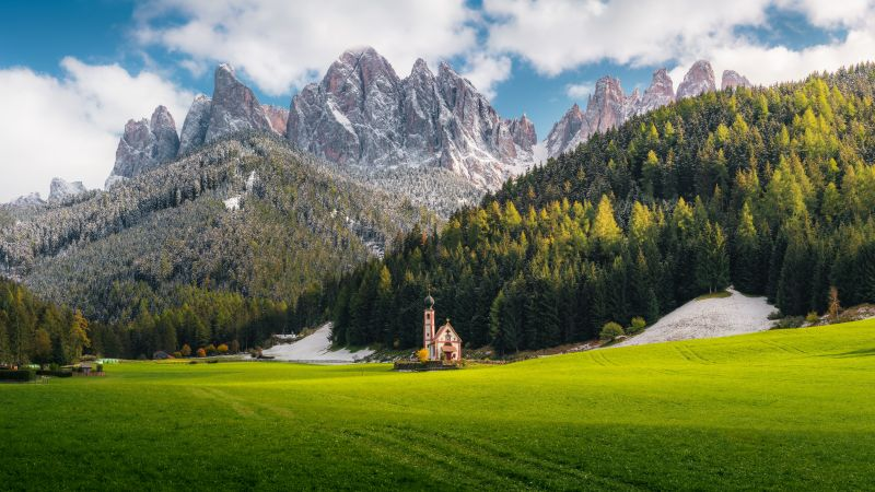 Church Of St Johann, Villnoss, Italy, Alps, Dolomites, Mountain range, Snow covered, Landscape, Scenery, Cathedral, Glacier mountains, Green Grass, Trees, Clouds, Famous Place, Tourist attraction, 5K, 8K, Wallpaper