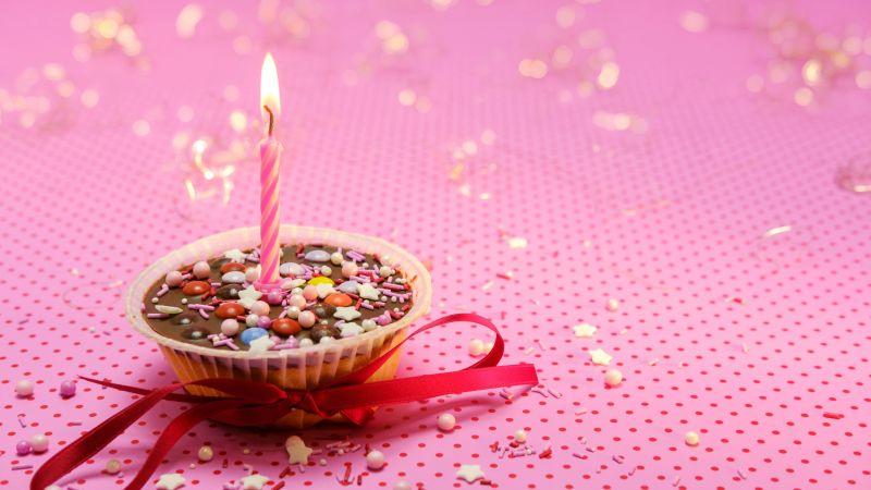 Muffin, Cupcake, Candle light, Red Ribbon, Pink background, Sugar sprinkles, Dessert, Birthday, Aesthetic, 5K, Wallpaper