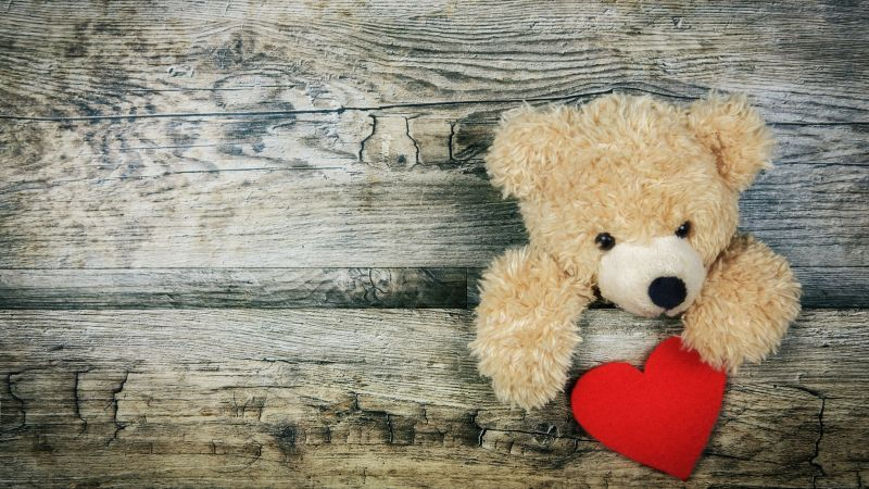 Teddy bear, Red heart, Wooden background, Soft toy, Stuffed, Valentine's Day, Cute Bear, Emotions, 5K, Wallpaper