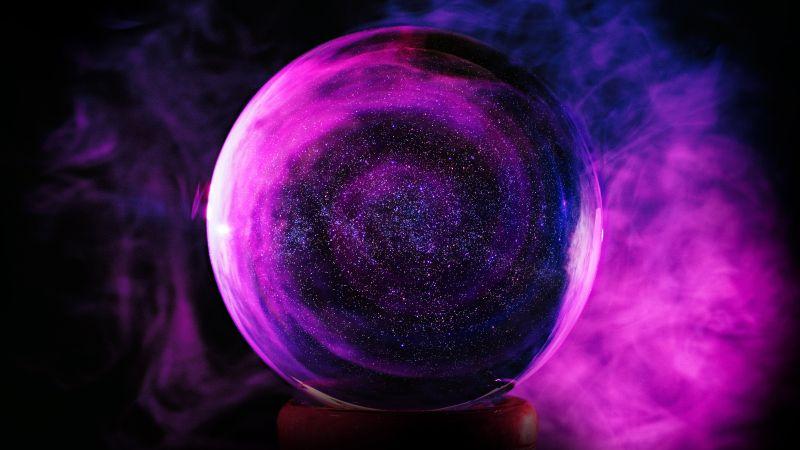 Crystal Ball, Purple Smoke, Glass Ball, Black background, Sphere Balls, 5K, Wallpaper