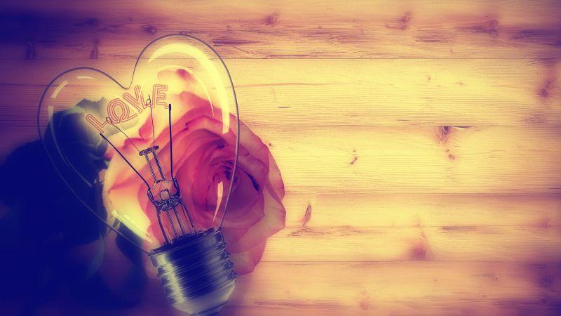 Light bulb, Heart shape, Rose flower, Wooden background, Valentine's Day, Love text, Creative, 5K, 8K, Wallpaper