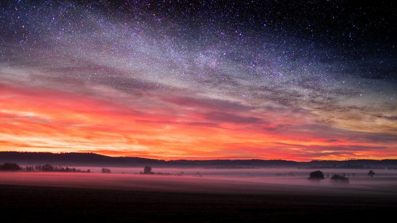 Starry sky, Sunset Orange, Landscape, Fog, Scenery, Clouds, 5K, Wallpaper