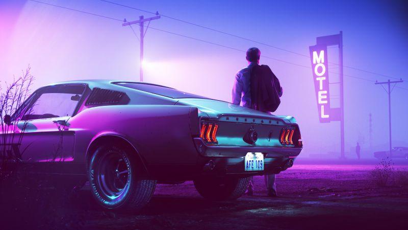 Ford Mustang GT Fastback, Drive, Motel, Neon, 5K, Wallpaper