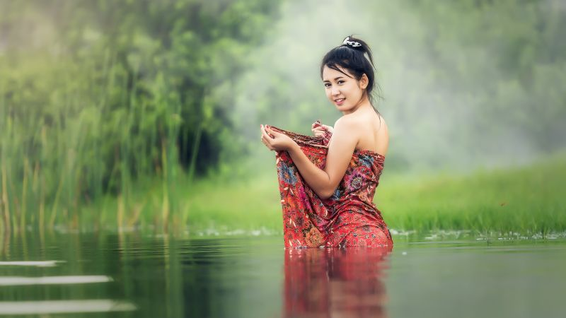 Asian Girl, Teen, Lake, Pond, Bath time, Portrait, Smiling, Thailand, 5K, 8K, Wallpaper