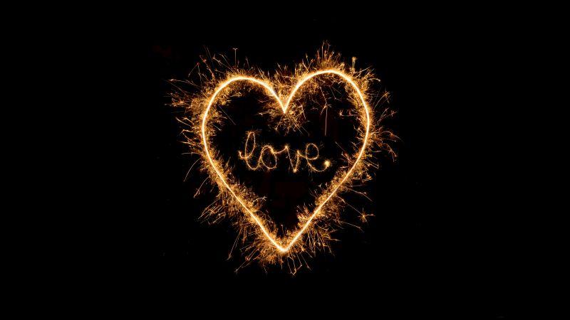 Love heart, Sparkles, Night, Black background, Letters, 5K, Wallpaper