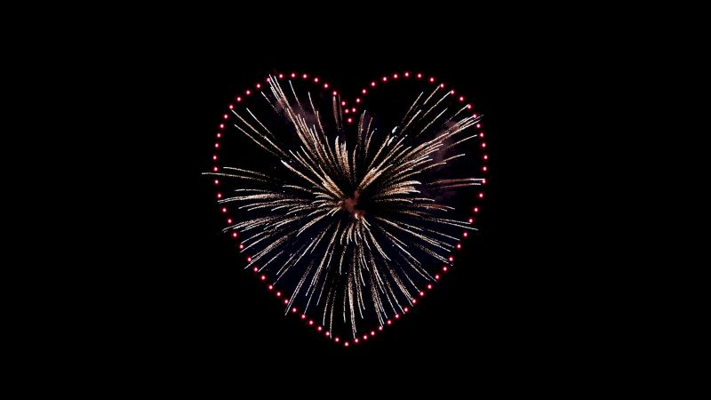 Love heart, Fireworks, Sparkles, Celebrations, Night, Black background, 5K, 8K, Wallpaper