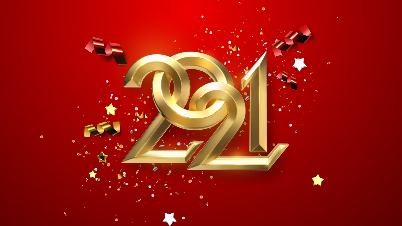 2021 New Year, Golden letters, Calligraphic, Ribbons, Party confetti, Happy New Year, Red background, 5K, Wallpaper