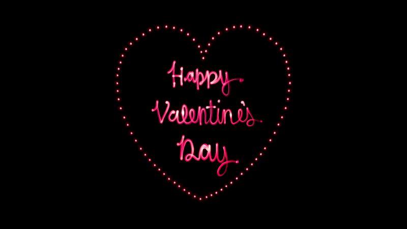 Happy Valentine's Day, Love heart, Letters, Pink, Black background, AMOLED, 5K, 8K, Wallpaper