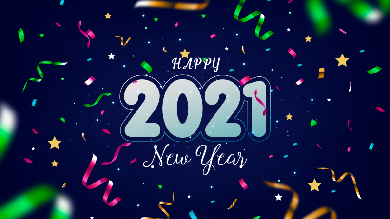 2021 New Year, Ribbons, Party confetti, Blue background, Happy New Year, 5K, Wallpaper