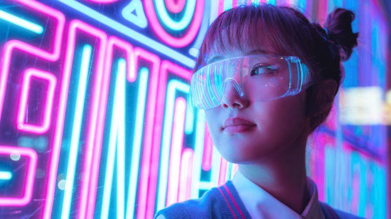 Girl, Neon Lights, Purple, Glow, Cyberpunk, Asian Girl, Neon glow, 5K, 8K, Wallpaper