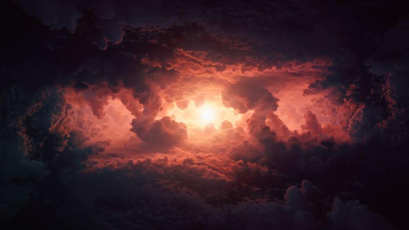 Cumulus clouds, Storm, Dark clouds, Sun light, Extreme Weather, Cloudy Sky, Wallpaper