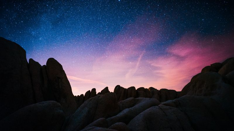 Rock formations, Joshua Tree National Park, California, Night time, Starry sky, Outer space, Astronomy, Landscape, Dusk, Sunset, Wallpaper