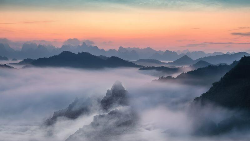 Mountain range, Foggy sunset, Orange sky, Landscape, Scenery, Mountain View, 5K, 8K, Wallpaper