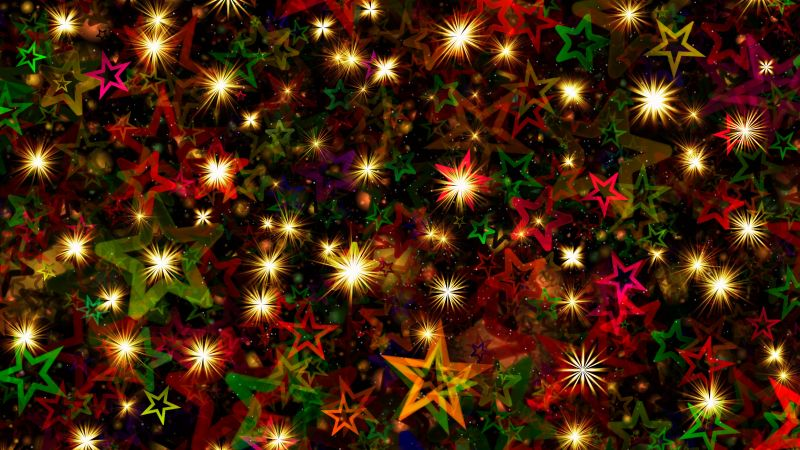 Christmas Stars, Christmas decoration, Advent, Glowing lights, Colorful, Aesthetic, 5K, 8K, Wallpaper