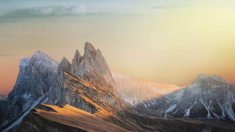 Glacier mountains, Snow covered, Landscape, Mountain Peaks, Sunset, Scenery, Clouds, 5K, 8K, Wallpaper