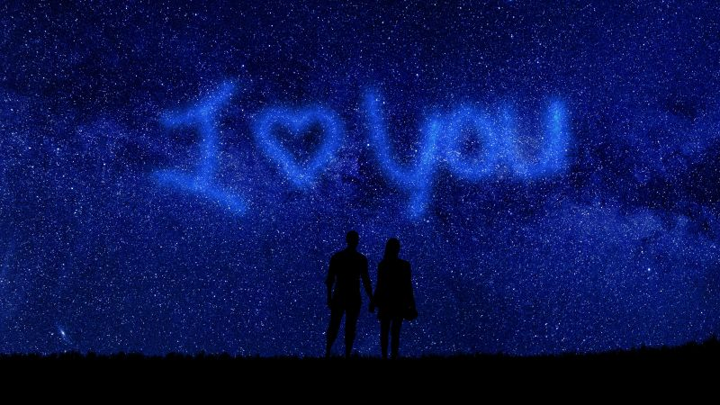 I Love You, Starry sky, Couple, Silhouette, Heart shape, Valentine's Day, Relationship, Together, Outer space, Night sky, 5K, Wallpaper