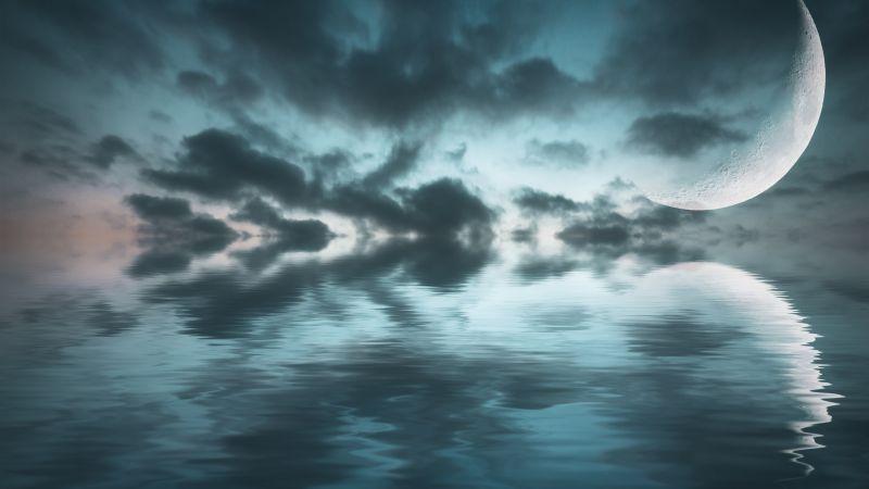Ocean, Crescent Moon, Sea, Body of Water, Reflection, Dark clouds, Night sky, Scenery, 5K, 8K, Wallpaper