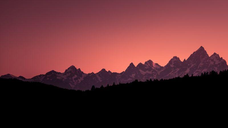 Grand Teton National Park, Teton Range, USA, Silhouette, Glacier mountains, Snow covered, Sunset Orange, Clear sky, Mountain Peaks, Scenery, Wallpaper