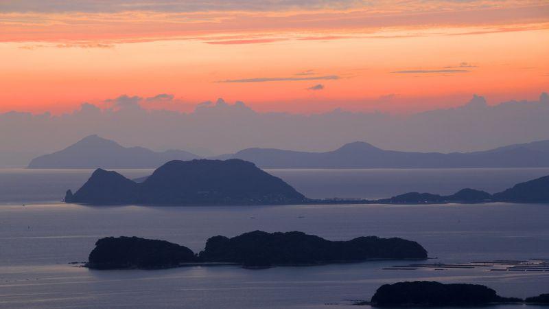 99 Islands, Kujūku Islands, Nagasaki Prefecture, Sasebo, Japan, Orange sky, Sunset, Landscape, Evening, Clouds, Travel, Tourist attraction, Wallpaper