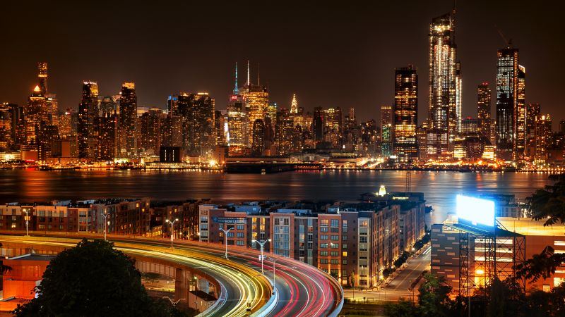 New York City, Cityscape, City lights, Night time, Skyscrapers, Long exposure, Roads, New Jersey, Wallpaper