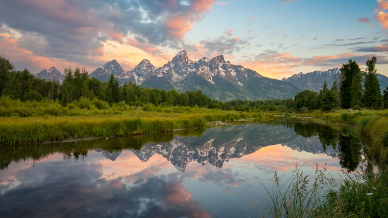 Grand Teton National Park, USA, Glacier mountains, Snow covered, Landscape, Mirror Lake, Reflection, Scenery, Green Trees, Wallpaper