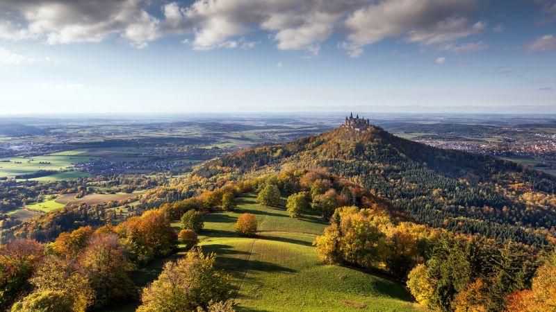 Castle, Landscape, Green Meadow, Autumn trees, Scenery, Cloudy Sky, Aerial view, Horizon, Village, Wallpaper
