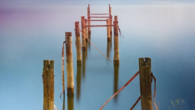 Broken Pier, Body of Water, Seascape, Long exposure, Ocean, Reflection, Wallpaper