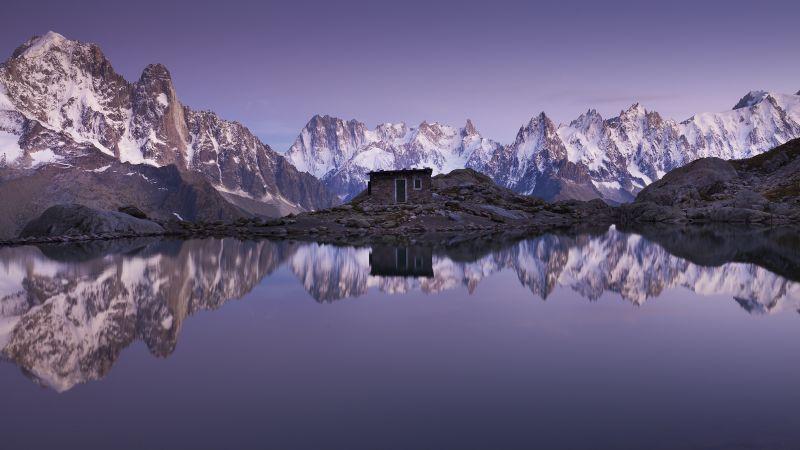 Mountain Hut, Mirror Lake, Snow covered, Glacier mountains, Sunset, Dusk, Reflection, Mountain range, Peaks, Wallpaper