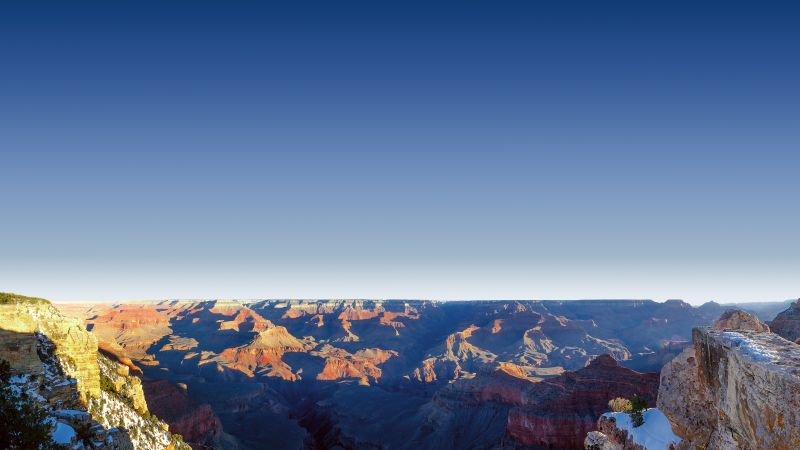 Mather Point, Grand Canyon National Park, Arizona, Rock formations, View Point, Travel, Tourist attraction, Famous Place, Landscape, Clear sky, Shadow, Wallpaper