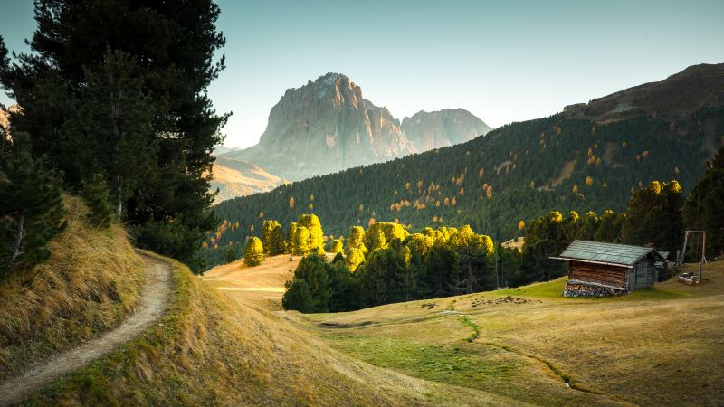 Seceda Mountain, Italy, Wooden House, Pathway, Green Trees, Sunset, Meadow, Landscape, Wallpaper