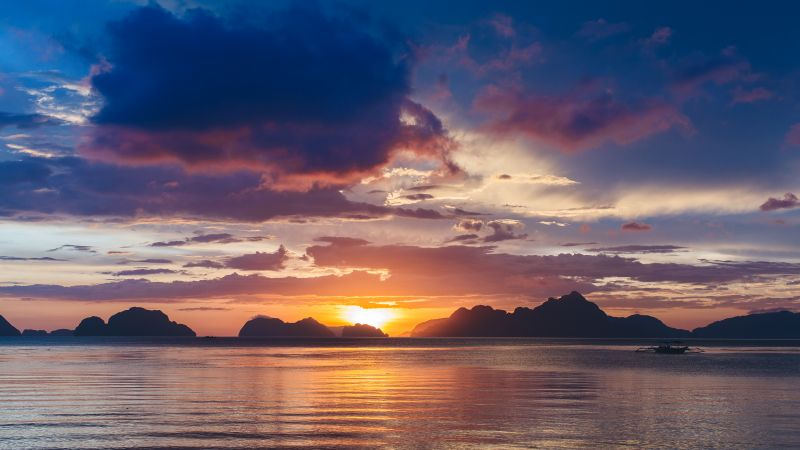 Bacuit Bay, Corong Beach, Philippines, Seascape, Sunset, Body of Water, Silhouette, Mountains, Cloudy Sky, 5K, Wallpaper