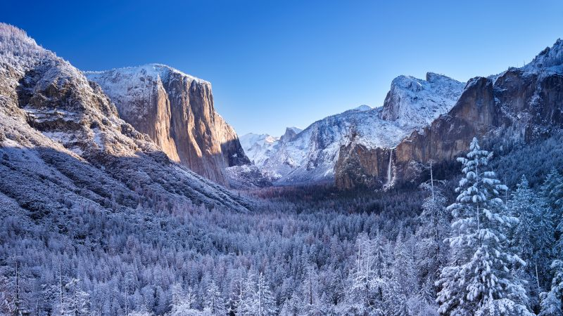 Yosemite National Park, Mountains, Winter, Sunny day, Landscape, California, Wallpaper