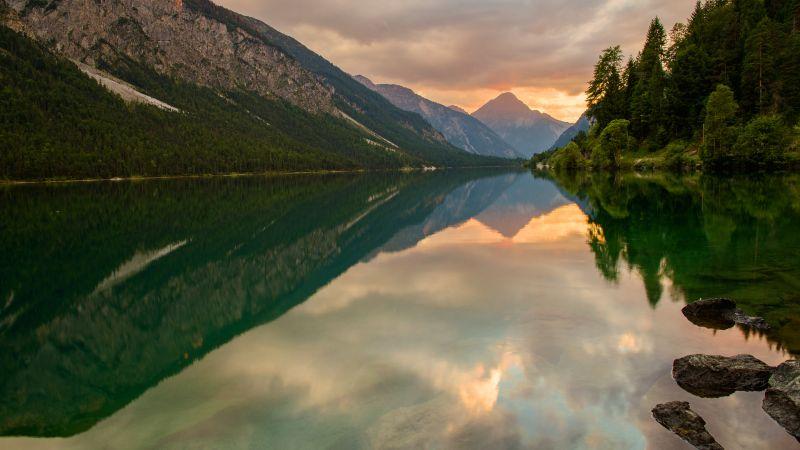 Lake Plansee, Austria, Thaneller Mountain, Landscape, Mirror Lake, Reflection, Green Trees, 5K, Wallpaper