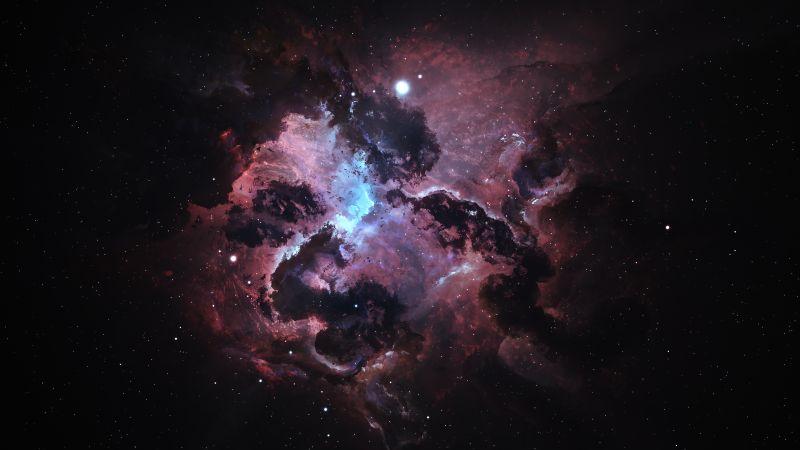 Atlantis Nexus Nebula, Black background, Digital render, Astronomy, Stars, Galaxy, Space artwork, Wallpaper