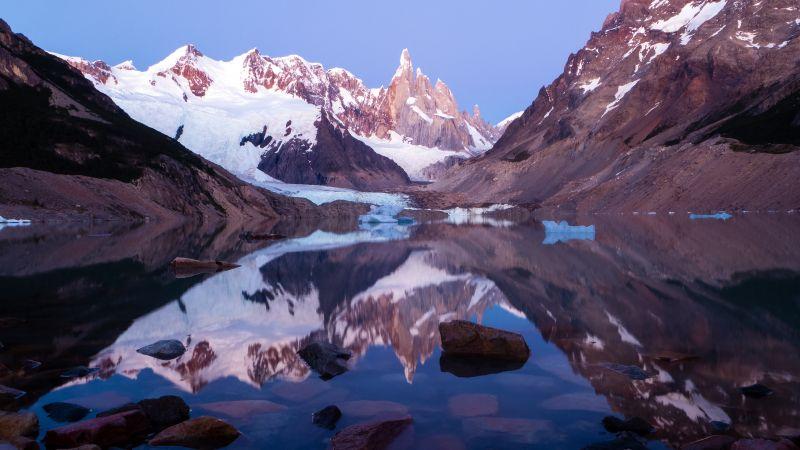 Cerro Torre, Laguna Torre, Mirror Lake, Los Glaciares National Park, Argentina, Landscape, Reflection, Mountain Peaks, Glacier, Snow covered, Wallpaper